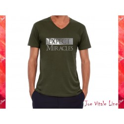 T-shirt V-neck short sleeves EXPECT MIRACLES organic cotton green/silver by JOE VITALE