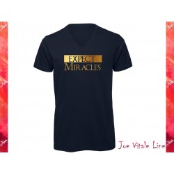 T-shirt short sleeves v-neck EXPECT MIRACLES organic cotton navy blue/golden by JOE VITALE