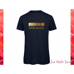 T-shirt short sleeves EXPECT MIRACLES organic cotton navy blue/golden by JOE VITALE