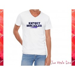 T-shirt short sleeves EXPECT MIRACLES organic cotton white/universe by JOE VITALE