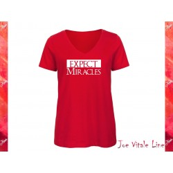 T-shirt woman EXPECT MIRACLES v neck organic cotton red/white by JOE VITALE