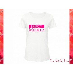 T-shirt woman EXPECT MIRACLES organic cotton white/neon pink by JOE VITALE