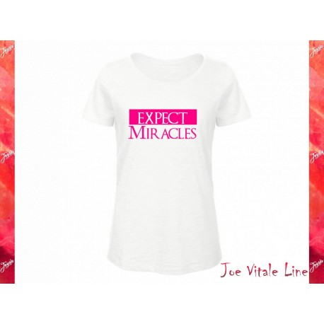 T-shirt donna EXPECT MIRACLES Cotone Bio bianca/rosa fluo JOE VITALE