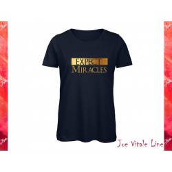 T-shirt donna EXPECT MIRACLES Cotone Bio blu/oro JOE VITALE