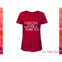 Red t-shirt woman JOE VITALE ho'oponopono ORGANIC COTTON