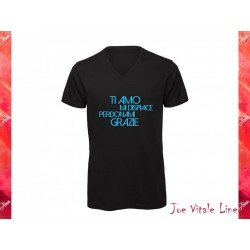 Black t-shirt JOE VITALE ho'oponopono ita sky blue ORGANIC COTTON v neck