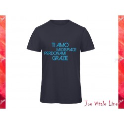 Blue t-shirt man JOE VITALE ho'oponopono ita sky blue ORGANIC COTTON