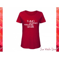 Red t-shirt JOE VITALE ho'oponopono ita woman ORGANIC COTTON