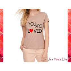 Pink woman t-shirt JOE VITALE you are loved ORGANIC COTTON