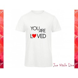 white t-shirt man JOE VITALE YOU ARE LOVED ORGANIC COTTON