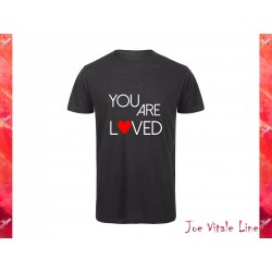 Black t-shirt man JOE VITALE YOU ARE LOVED ORGANIC COTTON