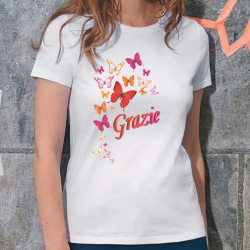 "White T-shirt woman ""Grazie"" Ivan Nossa Thank you"